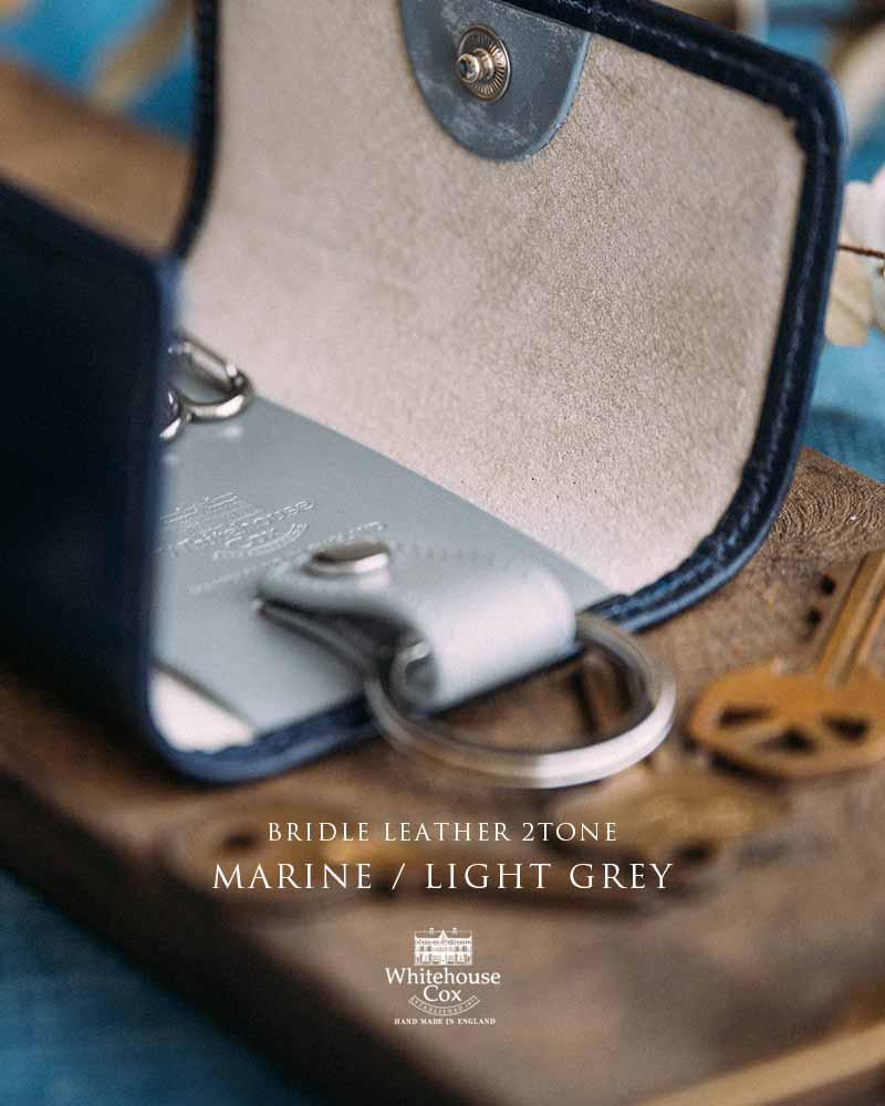 BRIDLE LEATHER 2TONE -MARINE / LIGHT GREY-